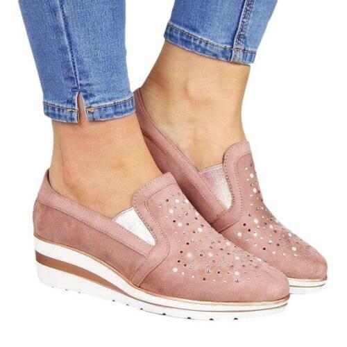 Women Slip On Pump Shoe Wedge Heel Casual Comfy Ladies Loafers Trainers Sneakers