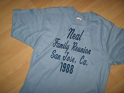 Neal Family Reunion Tee - Vintage San Jose California USA Thin Blue T Shirt Med