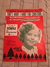 Vintage 1930s SHIRLEY TEMPLE Sheet Music - Thats What I Want For Christmas