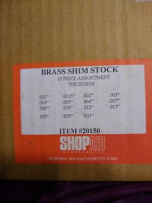 Brass Shim Stock Sheet A... Made in USA 15 Piece 0.001 to 0.031 Inch Thickness