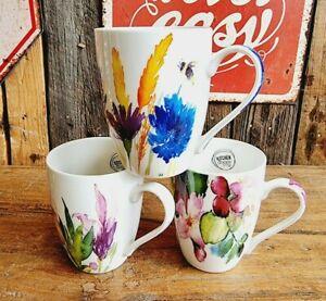 Edle Tasse Aquarel Look 300 ml Becher Keramik Geschirr Kaffee Tee Küche Pflanzen
