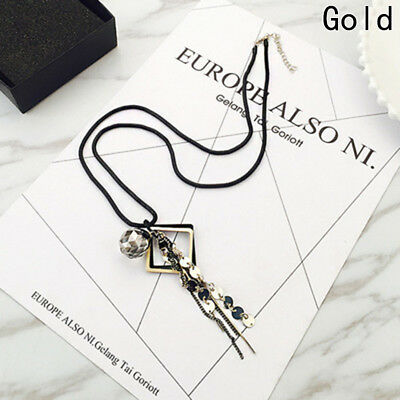 Fashion Crystal Tassel Pendant Statement Long Chain Sweater Necklace Jewelry New