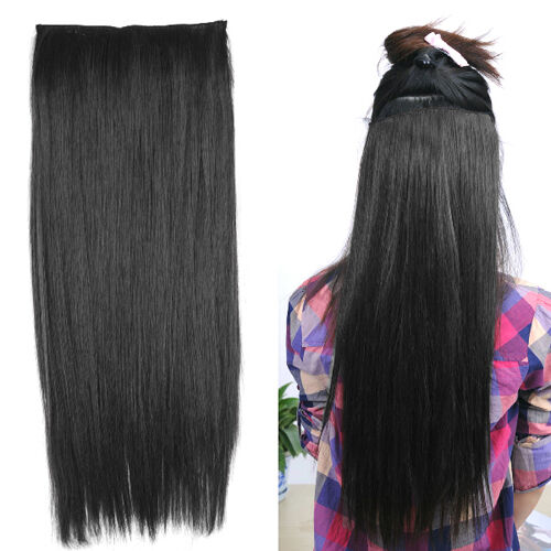 """23"""" Straight Full Head One Piece 5 Clips In On Hair Extensions Perm Wash Party"""