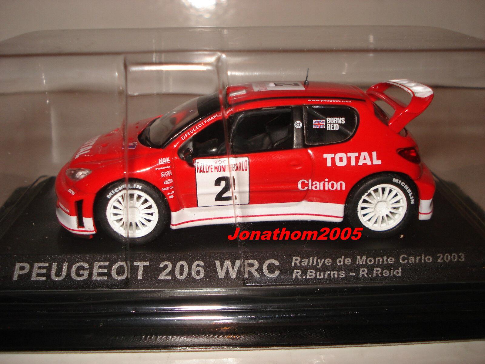 PEUGEOT 206 WRC WRC WRC RALLY MOUNTED CARLO 2003 - BURNS - REID to the 1 43° 2f3ec5