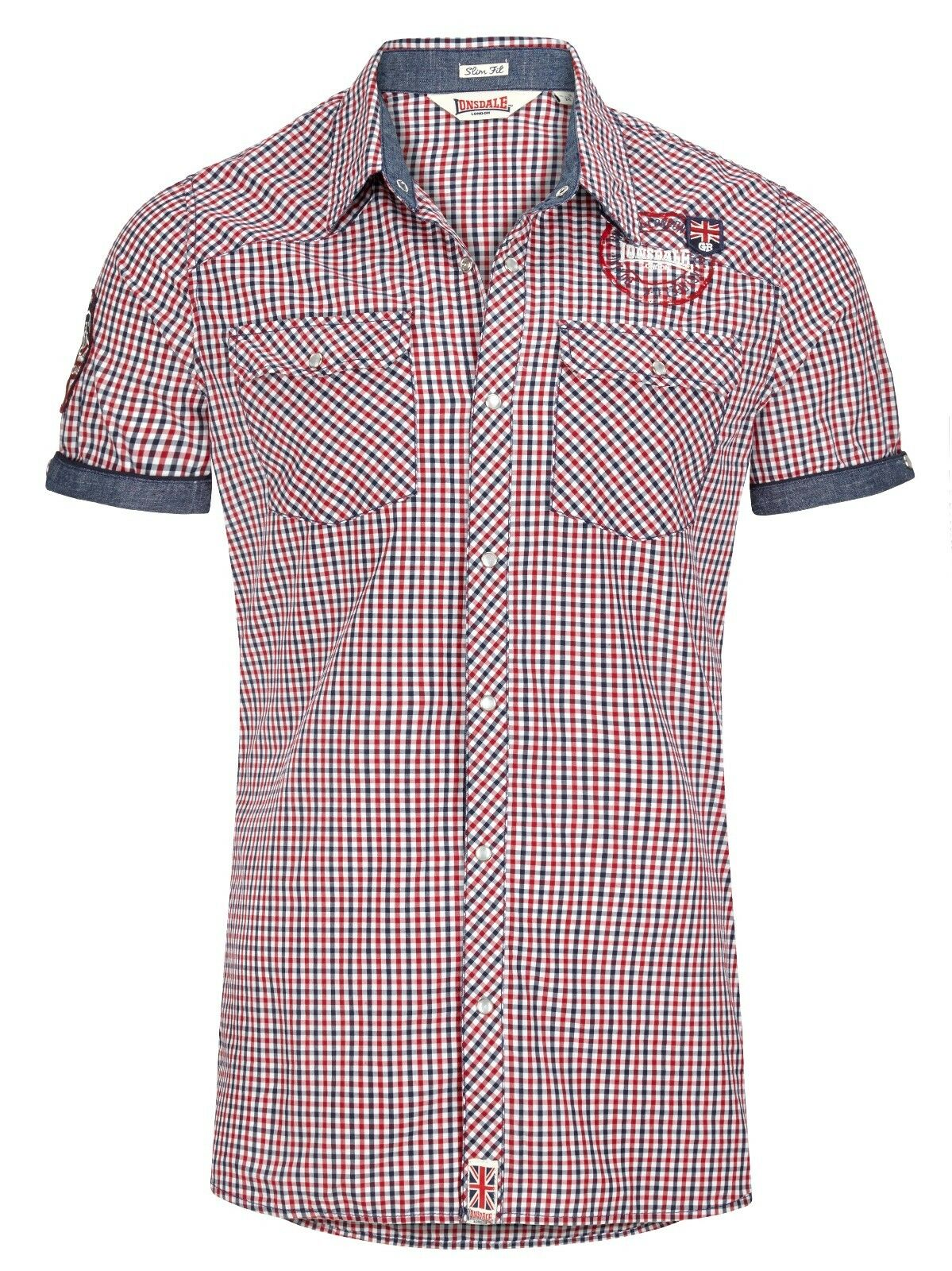 Lonsdale Reigate Hemd Navy rot Weiß Shirt Men Slim Fit Shirt, shortsleeve     | Clearance Sale