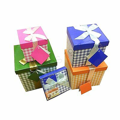 Set Of 4 Christmas Nested Folded Gift Ribbon Boxes Xmas Party Present Box Case