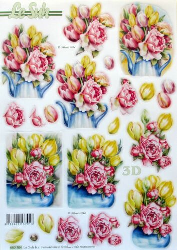 Die Cut 3D A4 PAPER TOLE DECOUPAGE Spring Flowers Bowls Tulips 680.104