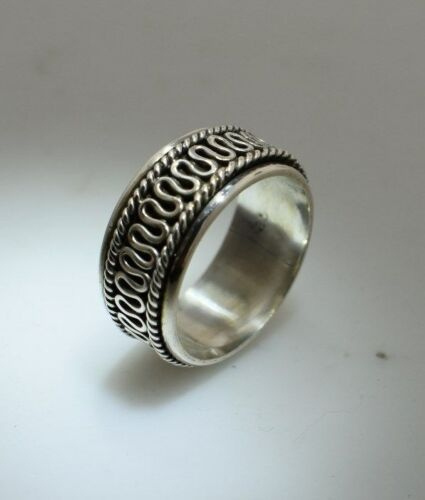 R163 Solid Sterling Silver Véritable Bali Spinning-Spin-Worry Anneaux Taille 6-10.5