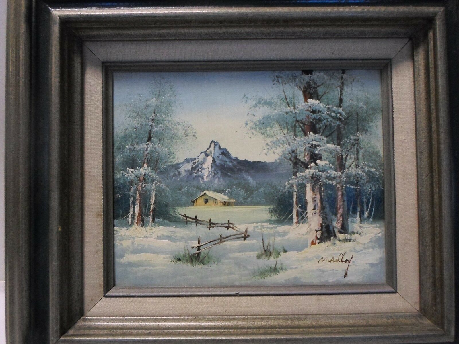 Original OIL Painting Mountain Country Winter Landscape Signed 8x10 Framed 15x17 2