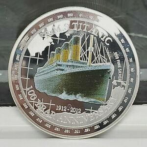 Titanic-Silver-Commemorative-Coin-Compass-Atlantic-Ocean-100th-Anniversary-1912