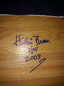 HUBIE BROWN NEW YORK KNICKS NBA HOF 2009 INSCRIPTION SIGNED FLOORBOARD