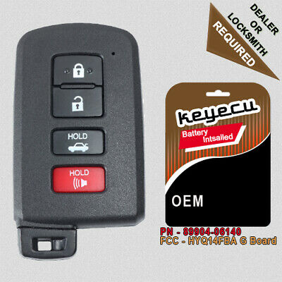 For Toyota Corolla Camry Avalon OEM Smart Prox Remote Keyless Fob and Blade