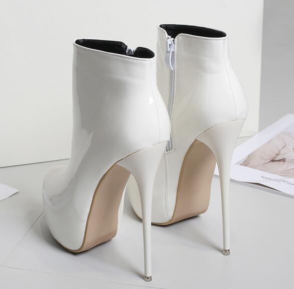 Women CM Stilettos Platform Patent Leather Shiny Ankle Boots shoes Sz41-45