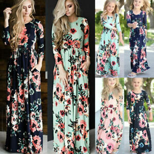 d53df20e05c6 Image is loading Mother-Daughter-Family-Matching-Dress-Womens-Girls-Floral-
