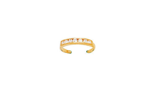 14k Solid Yellow Gold Half Eternity or Crossover or Double Bezel CZ Toe Ring