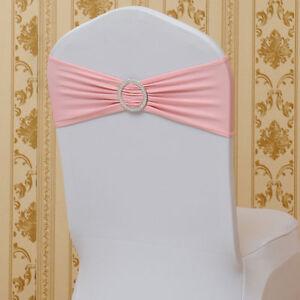 Spandex 100pcs Wedding Chair Sashes Bow Band Banquet Sash Pink Wholesale Ebay