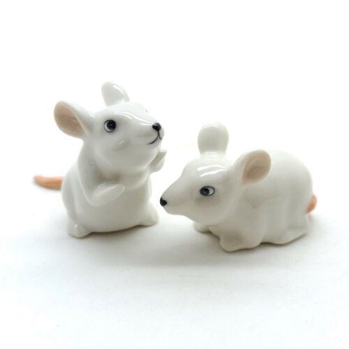 2 White Rat Mouse Mice Figurine Ceramic Animal Miniature Statue CCK170