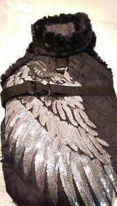 Manteau d'hiver manteau pour chien noir argent paillettes m chiens chaud Ange ailes Ange