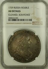 1729 Russia 1 Rouble Silver Coin NGC AU Details Cleaned Scratches Russian