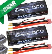 (2) Gens Ace 2S 5000mAh 7.4V 50C 2S1P HardCase Lipo Batteries with Deans plugs