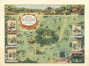 Sherwood Forest Map 1955 Antique Map POSTER Robin Hood and his merry men Sherwood  Sherwood Forest Map