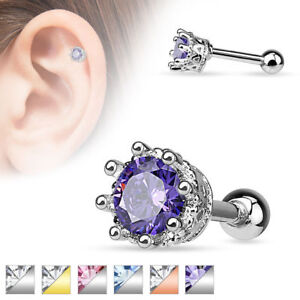 1cd78e4682758 Details about Purple CZ Crown Ear Cartilage Cuff Helix Tragus Earring  Barbell 16G Rose Gold
