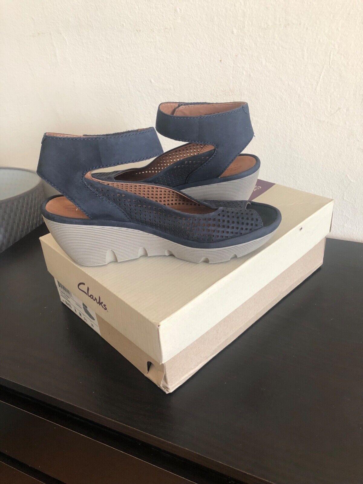 Clarks clarene prima womens sandals navy bluee nubuck size us us us 8 eur 39 4eacc6