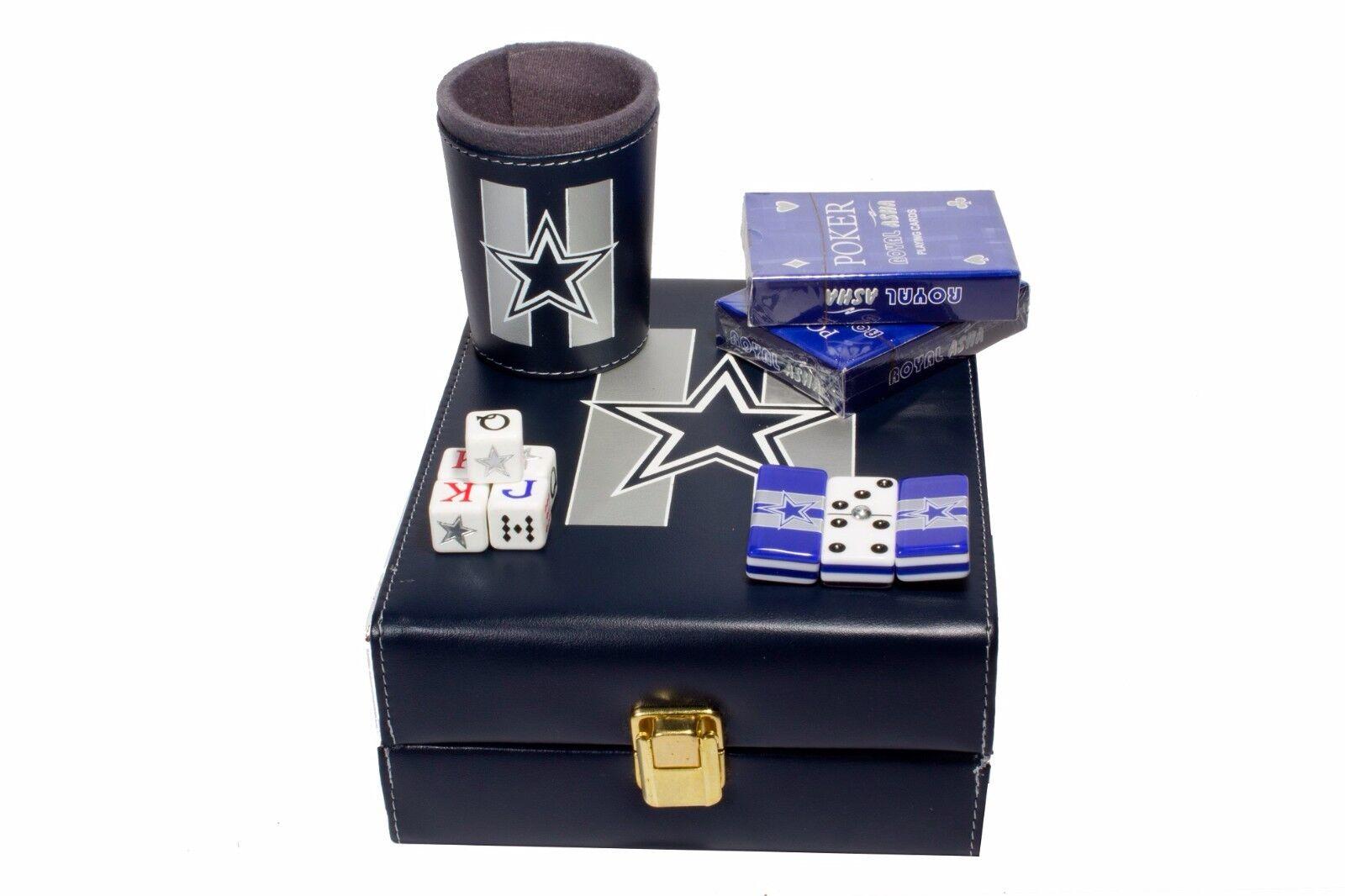 Dallas Cowboys Deluxe Set 3 Games  Domino, Dice Cup, 2 Poker Cards