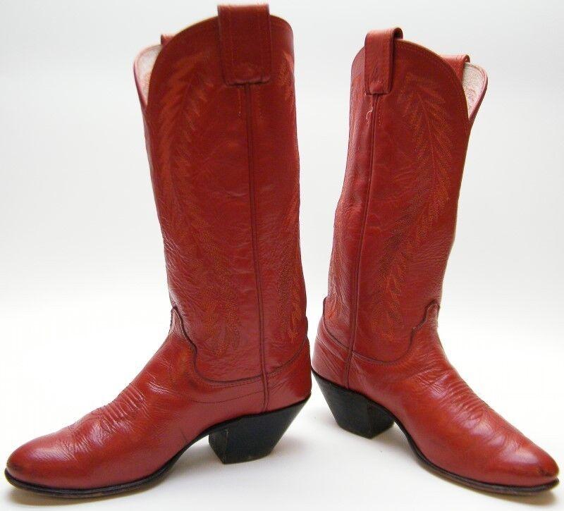 WOMENS OLATHE TALL RED WORN LEATHER 6 COWBOY WESTERN BOOTS SZ 6 LEATHER B 6B 877eb5