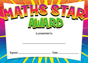 maths star award certificates teachers kids parents 16 x a6