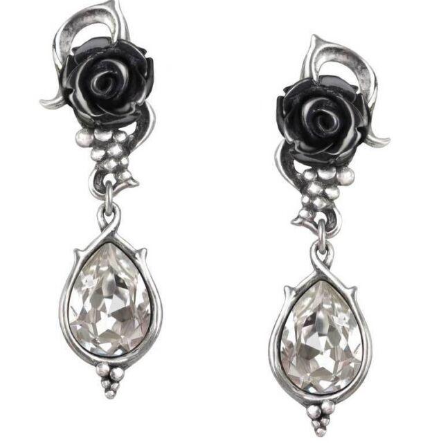 Bacchanal Schwarze Rose Trauben & Klare Kristalle Ohrringe E347 By Alchemy