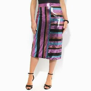 Womens-Ladies-Sequin-Pencil-Midi-Skirt-Striped-Pattern-Party-Evening