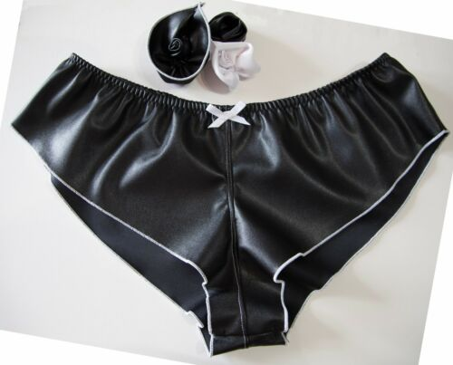Leather Look French Knickers lingerie Panties bondage PVC Black with White