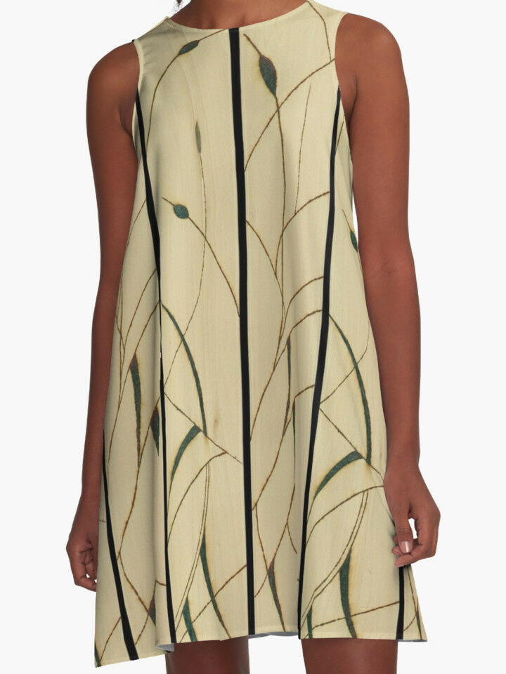 DESIGNER STYLE A-LINE DRESS  Exclusive Classy Solar Etched Design  'Cattails'
