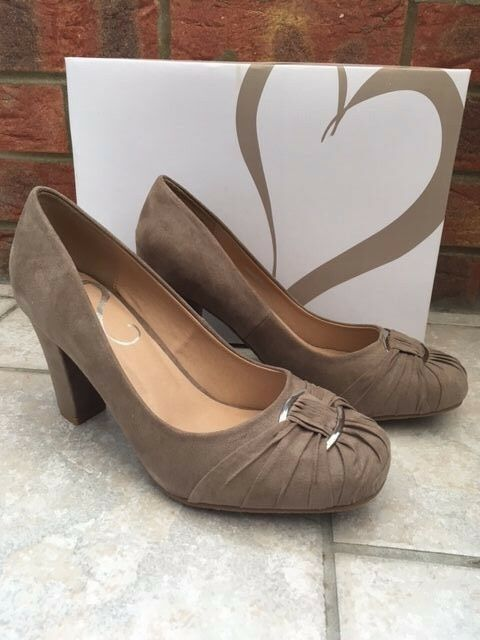 NEW Evans Jenna Ladies Beige Mink Suede Effect Shoes Size 7 EEE Extra Wide Fit