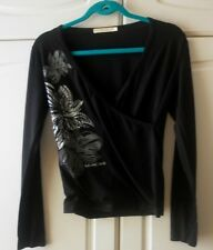 Roberto Cavalli Made In Italy Black With Floral Print Top T-Shirt -Size S