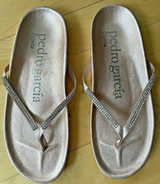 PEDRO GARCIA Peach Leather Judith Swarovski Crystal Studded T Strap Sandals 36.5