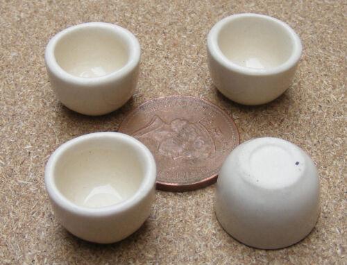 1:12 Échelle 4 Crème Couleur Bols en Céramique 1.5cm Tumdee Poupées Maison Cr7