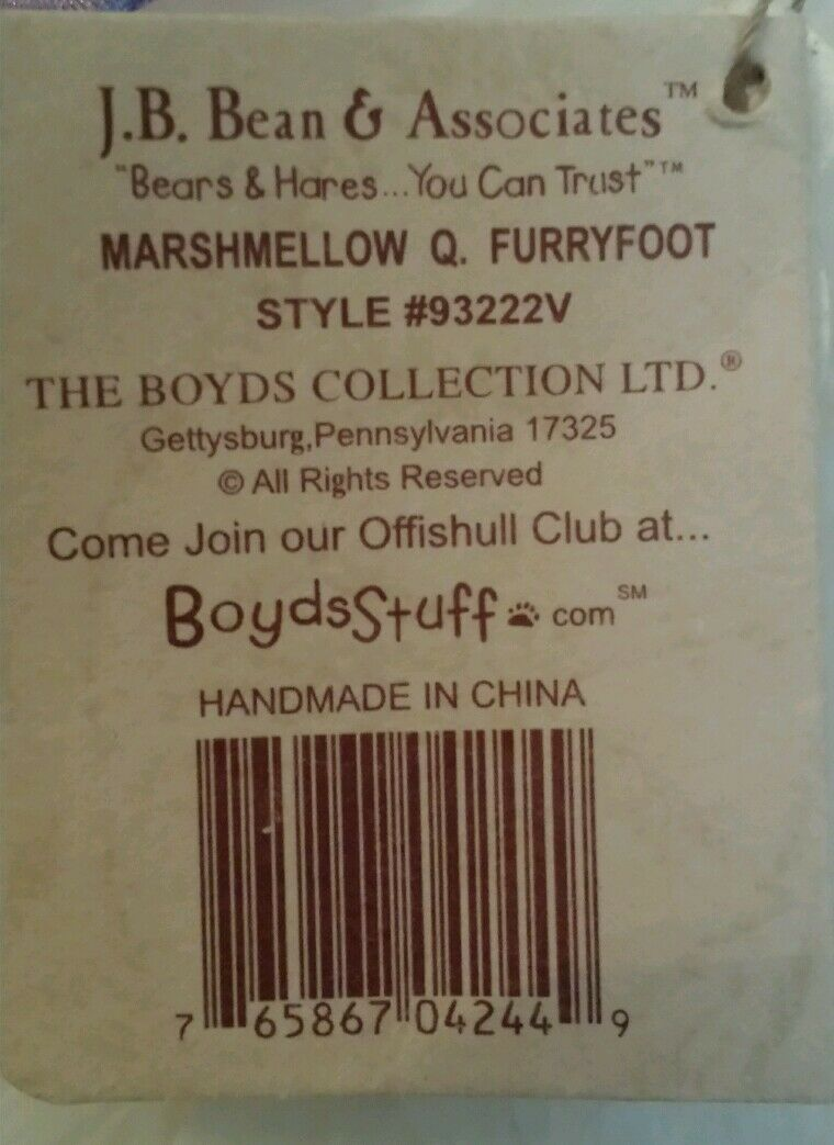 Boyds Boyds Boyds bears Marshmellow Q Furryfoot QVC Exclusive 24ab7e