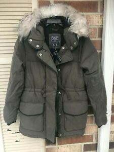 b152ba0a1 Details about $180 Womens Abercrombie And Fitch Faux Fur Hooded Puffer  Jacket size XXS