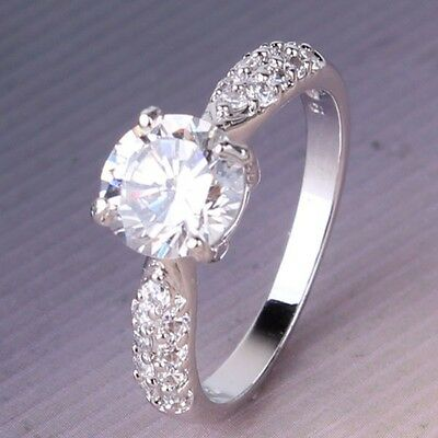 Promise Solitaire 18K white filled white topaz Engagement ring Sz5-Sz8.5