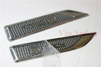 2Pcs SRX Route 66 Road Aluminum Chrome Car Front Side Honeycomb Sticker Emblems