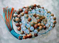 Buddhist Prayer Beads Mala Opalite & Serpentine-spirituality Sexual Enhhancement