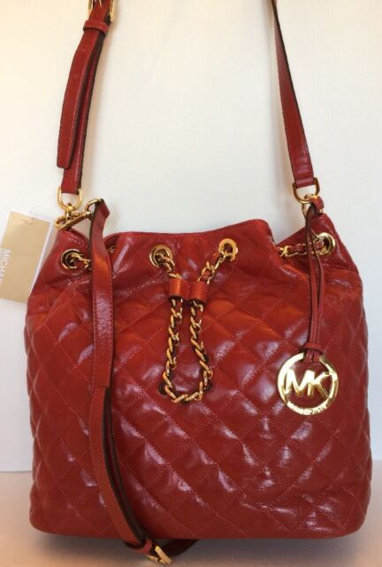 6757d2ba98c8 Michael Kors Frankie Quilted Convertible Bucket Bag Patent Leather Red-  Gold L