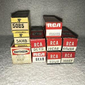 10-RCA-SYLVANIA-Raytheon-tubes-17CU5-6KA8-5BW8-6CY5-10DE7-6AW8A-19EA8-5AM8-50B5
