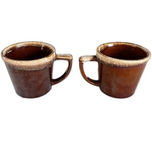 x2 Vintage McCoy Pottery Brown Drip Glaze 8 oz Coffee Mugs D Handle USA
