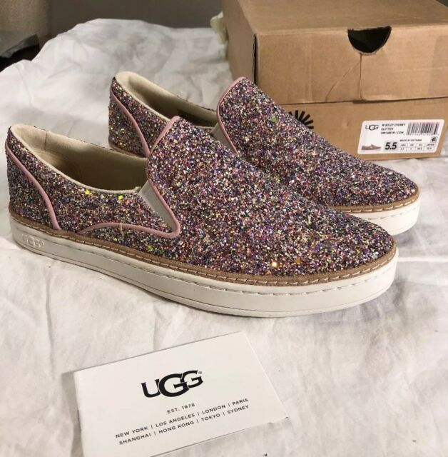 531253f2e8df UGG ADLEY CHUNKY GLITTER CONFETTI PINK LEATHER SLIP-ON SHOES SIZE US 5.5  WOMENS