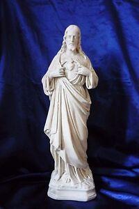 ANCIENNE-STATUE-EN-PLATRE-LE-SACRE-COEUR-DE-JESUS-CHRIST-RELIGION