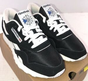 a74eac0f172 Reebok Men s Classic Nylon Athletic Shoes Black White 6604 NWD