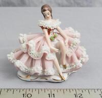 Vintage Porcelain Lace Figurine Sitting Girl Figure Volkstedt Dresden jds